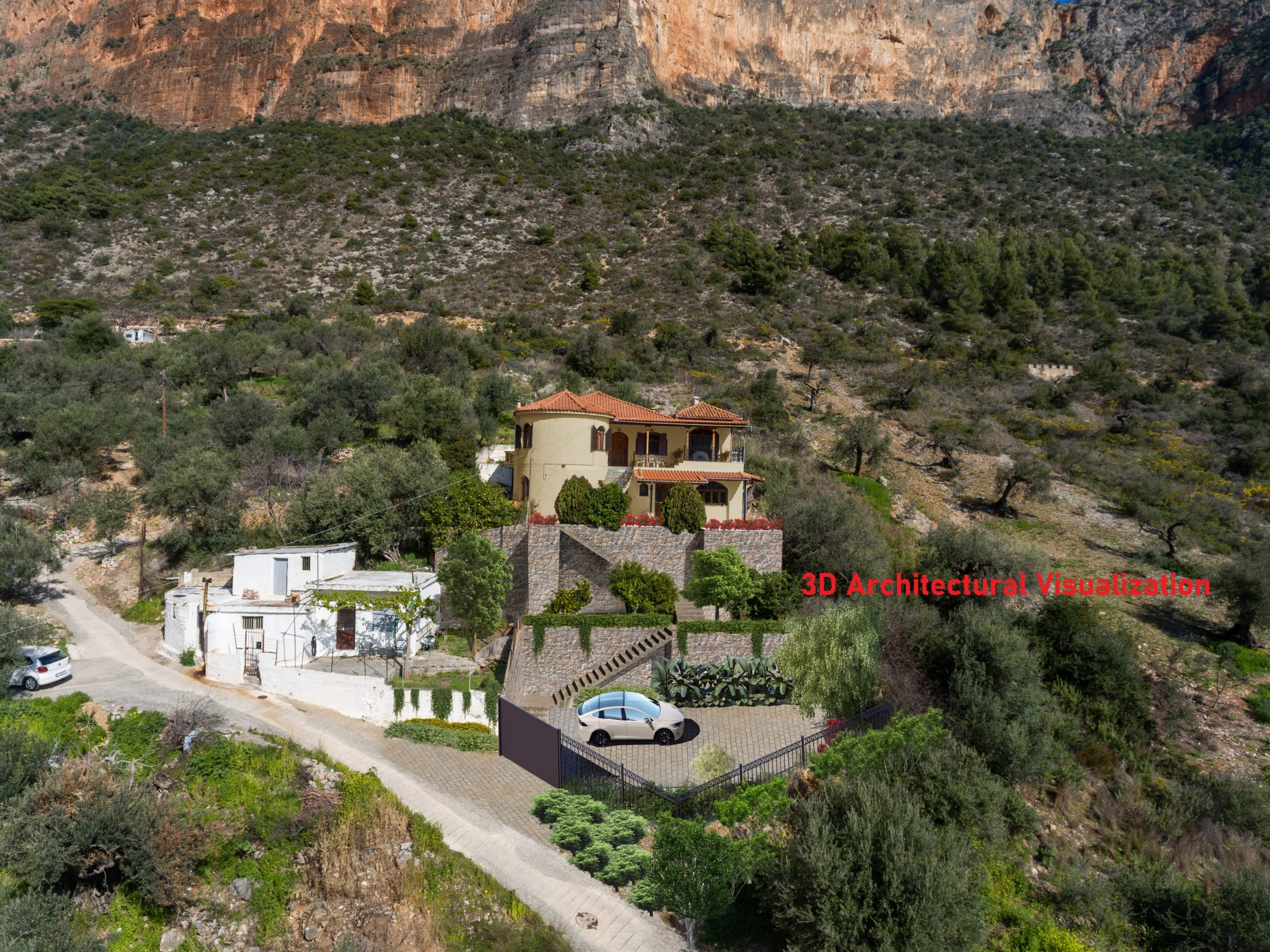 3D VISUALIZATION [#169] Big House with Amazing View in Leonidio Center, East Peloponnese - 345 000 euro